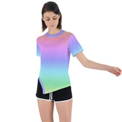 Pastel Rainbow Ombre Gradient Asymmetrical Short Sleeve Sports Tee by SpinnyChairDesigns