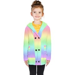 Pastel Rainbow Diamond Pattern Kids  Double Breasted Button Coat by SpinnyChairDesigns
