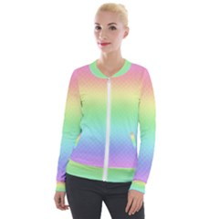 Pastel Rainbow Diamond Pattern Velour Zip Up Jacket by SpinnyChairDesigns