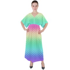 Rainbow Floral Ombre Print V-neck Boho Style Maxi Dress by SpinnyChairDesigns