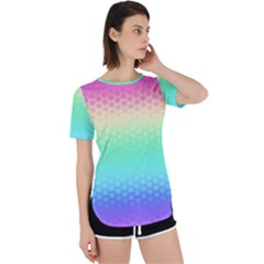 Rainbow Floral Ombre Print Perpetual Short Sleeve T-shirt by SpinnyChairDesigns