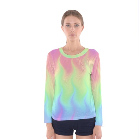 Pastel Rainbow Flame Ombre Women s Long Sleeve Tee by SpinnyChairDesigns