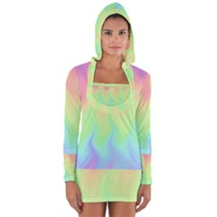 Pastel Rainbow Flame Ombre Long Sleeve Hooded T-shirt by SpinnyChairDesigns