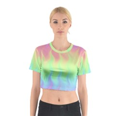 Pastel Rainbow Flame Ombre Cotton Crop Top by SpinnyChairDesigns