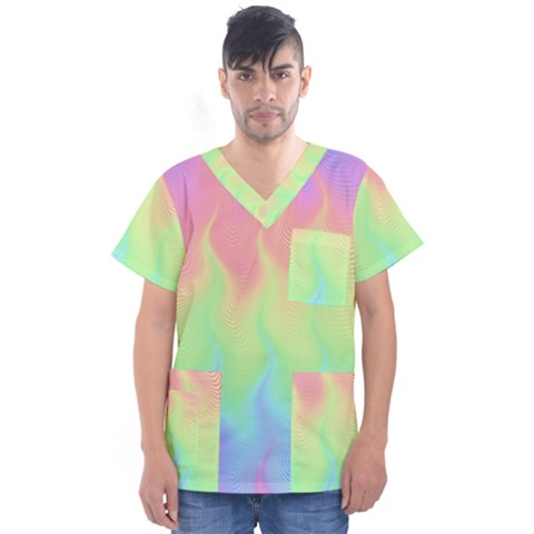 Pastel Rainbow Flame Ombre Men s V-neck Scrub Top by SpinnyChairDesigns