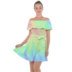 Pastel Rainbow Flame Ombre Off Shoulder Velour Dress by SpinnyChairDesigns