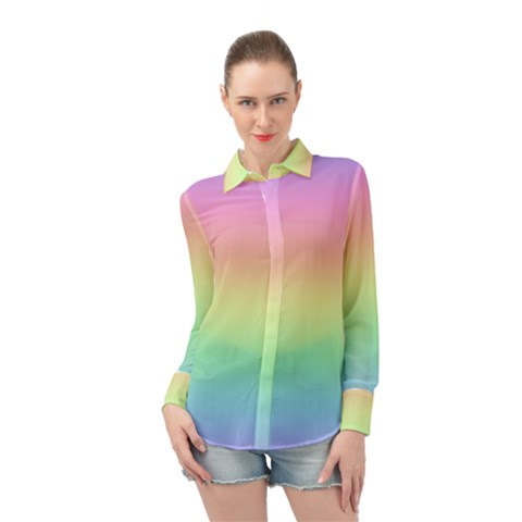 Pastel Rainbow Ombre Long Sleeve Chiffon Shirt by SpinnyChairDesigns