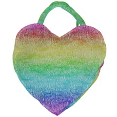 Rainbow Ombre Texture Giant Heart Shaped Tote by SpinnyChairDesigns