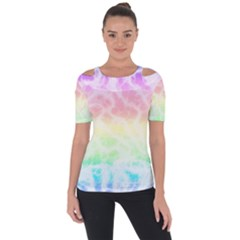 Pastel Rainbow Tie Dye Shoulder Cut Out Short Sleeve Top