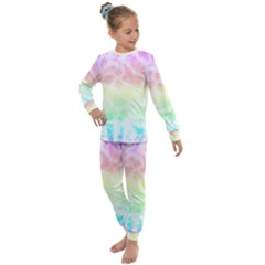 Pastel Rainbow Tie Dye Kids  Long Sleeve Set  by SpinnyChairDesigns