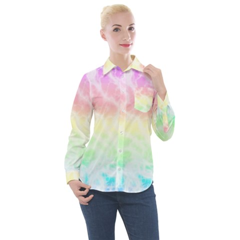 Pastel Rainbow Tie Dye Women s Long Sleeve Pocket Shirt by SpinnyChairDesigns