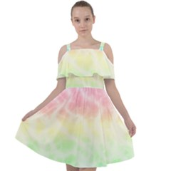 Pastel Rainbow Tie Dye Cut Out Shoulders Chiffon Dress by SpinnyChairDesigns