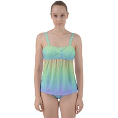 Pastel Rainbow Gradient Twist Front Tankini Set by SpinnyChairDesigns