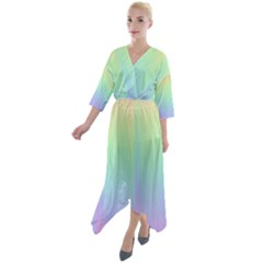 Pastel Rainbow Gradient Quarter Sleeve Wrap Front Maxi Dress by SpinnyChairDesigns