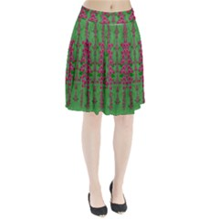 Lianas Of Sakura Branches In Contemplative Freedom Pleated Skirt