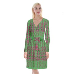 Lianas Of Sakura Branches In Contemplative Freedom Long Sleeve Velvet Front Wrap Dress