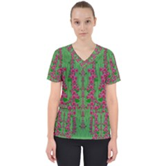 Lianas Of Sakura Branches In Contemplative Freedom Women s V-neck Scrub Top