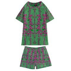Lianas Of Sakura Branches In Contemplative Freedom Kids  Swim Tee And Shorts Set