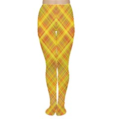 Orange Madras Plaid Tights by SpinnyChairDesigns