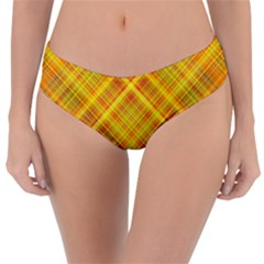 Orange Madras Plaid Reversible Classic Bikini Bottoms by SpinnyChairDesigns