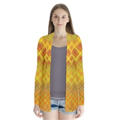 Orange Madras Plaid Drape Collar Cardigan by SpinnyChairDesigns