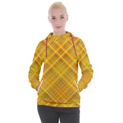 Orange Madras Plaid Women s Hooded Pullover by SpinnyChairDesigns