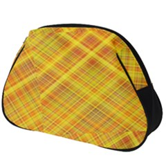 Orange Madras Plaid Full Print Accessory Pouch (big) by SpinnyChairDesigns