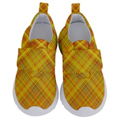 Orange Madras Plaid Kids  Velcro No Lace Shoes by SpinnyChairDesigns