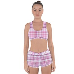 Pink Madras Plaid Racerback Boyleg Bikini Set by SpinnyChairDesigns