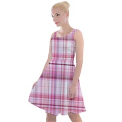 Pink Madras Plaid Knee Length Skater Dress by SpinnyChairDesigns