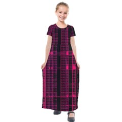 Pink Black Punk Plaid Kids  Short Sleeve Maxi Dress by SpinnyChairDesigns