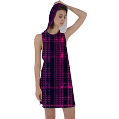Pink Black Punk Plaid Racer Back Hoodie Dress by SpinnyChairDesigns