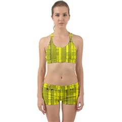 Black Yellow Punk Plaid Back Web Gym Set