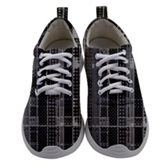 Black Punk Plaid Athletic Shoes by SpinnyChairDesigns