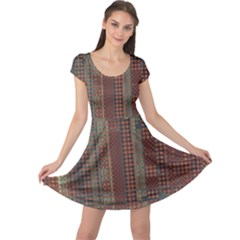 Rust Brown Grunge Plaid Cap Sleeve Dress