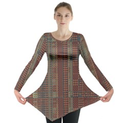 Rust Brown Grunge Plaid Long Sleeve Tunic  by SpinnyChairDesigns
