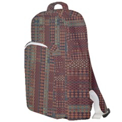Rust Brown Grunge Plaid Double Compartment Backpack by SpinnyChairDesigns