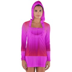 Fuchsia Ombre Color  Long Sleeve Hooded T-shirt by SpinnyChairDesigns