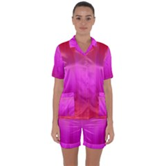 Fuchsia Ombre Color  Satin Short Sleeve Pyjamas Set by SpinnyChairDesigns