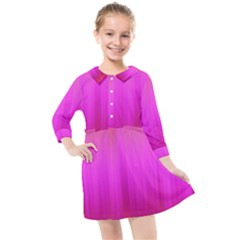 Fuchsia Ombre Color  Kids  Quarter Sleeve Shirt Dress by SpinnyChairDesigns
