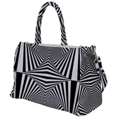 Black And White Stripes Duffel Travel Bag