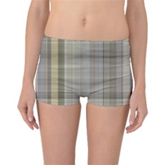 Beige Tan Madras Plaid Boyleg Bikini Bottoms by SpinnyChairDesigns
