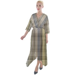 Beige Tan Madras Plaid Quarter Sleeve Wrap Front Maxi Dress by SpinnyChairDesigns