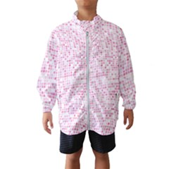 Pink And White Checkered Kids  Windbreaker by SpinnyChairDesigns