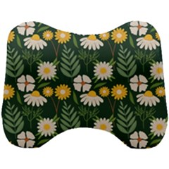 Flower Green Pattern Floral Head Support Cushion by Alisyart