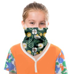 Flower Green Pattern Floral Face Covering Bandana (kids) by Alisyart
