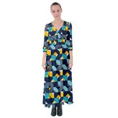 Geometric Hypnotic Shapes Button Up Maxi Dress by tmsartbazaar