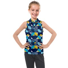 Geometric Hypnotic Shapes Kids  Sleeveless Polo Tee