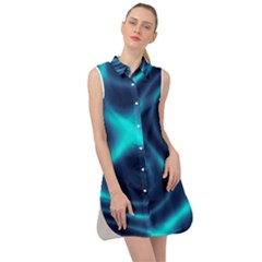 Blue Wave 2 Sleeveless Shirt Dress by Sabelacarlos