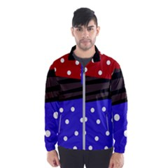 Mixed-lines-dots Black-bg Men s Windbreaker by Casemiro